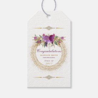 Étiquettes-cadeau Confettis d'or de fleur de scintillement