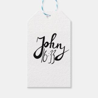 Étiquettes-cadeau Copie biblique de citation de 16h33 de John