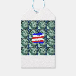 Étiquettes-cadeau Couleurs de drapeau des Etats-Unis avec la statue