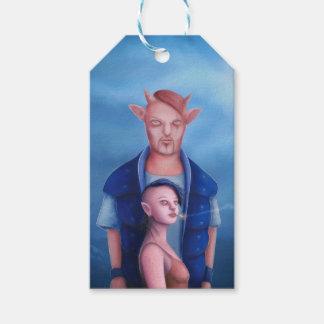 Étiquettes-cadeau Couples de démon dans la forêt hantée