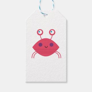 Étiquettes-cadeau Crabe rose sur le blanc