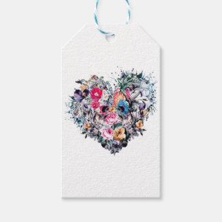 Étiquettes-cadeau Crâne de Saint-Valentin avec des coeurs