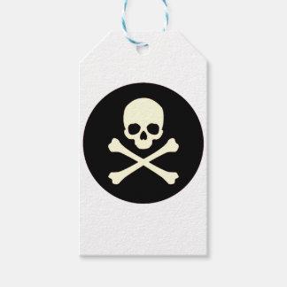 Étiquettes-cadeau crâne et os noirs