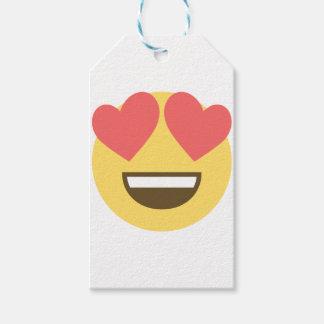 Étiquettes-cadeau Dans l'emoji de smiley d'amour