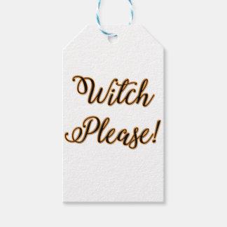Étiquettes-cadeau de sorcière dire drôle de Halloween svp