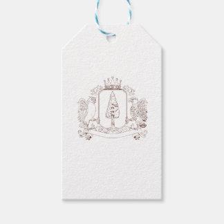 Étiquettes-cadeau Dessin de crête de couronne de séquoia de hibou et