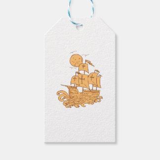 Étiquettes-cadeau Dessin de lune de bateau de navigation de
