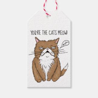 Étiquettes-cadeau Dessin grincheux drôle de chat de Meh