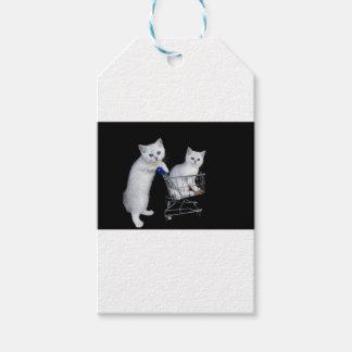 Étiquettes-cadeau Deux chatons blancs avec le caddie sur black.JPG