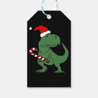 Étiquettes-cadeau Dinosaure mignon de T-rex dans l'art de Noël de