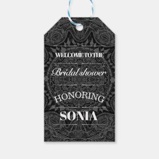 Étiquettes-cadeau Douche nuptiale de mandala noir et blanc