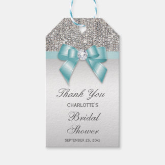 Étiquettes-cadeau Douche nuptiale de paillettes d'arc turquoise