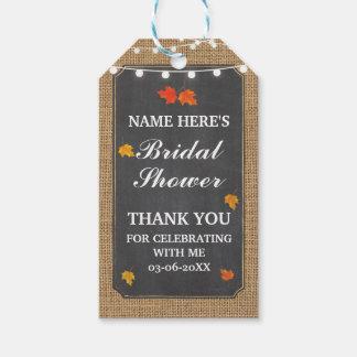 Étiquettes-cadeau Douche nuptiale de toile de jute élégante