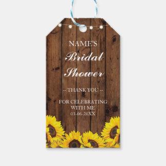 Étiquettes-cadeau Douche nuptiale en bois de tournesol de faveur