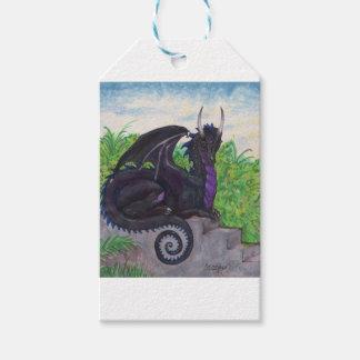 Étiquettes-cadeau Dragon noir pourpre