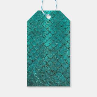 Étiquettes-cadeau Échelles turquoises bleues de sirène