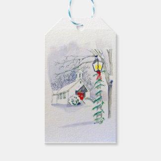 Étiquettes-cadeau Église de Noël