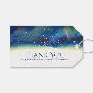 Étiquettes-cadeau Élégant moderne d'aquarelle turquoise de confettis