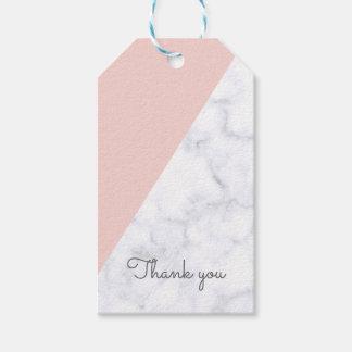 Étiquettes-cadeau Élégant rougissent le baby shower de marbre rose
