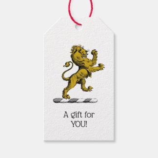 Étiquettes-cadeau Emblème debout C de crête de lion héraldique