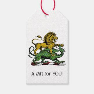 Étiquettes-cadeau Emblème héraldique de crête de lion et de dragon