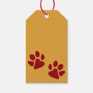 Étiquettes-cadeau Empreintes de pattes rouges