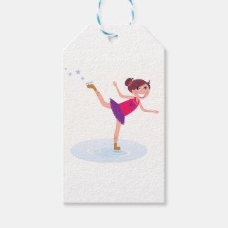 Étiquettes-cadeau Enfant de patinage de glace sur le blanc