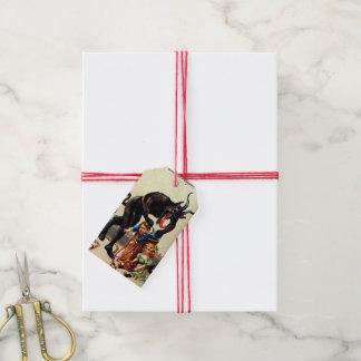 Étiquettes-cadeau Enfants de Krampus dans Noël vintage de Noël de