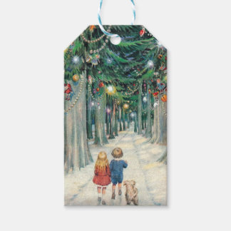 Étiquettes-cadeau Enfants vintages marchant par des arbres de Noël