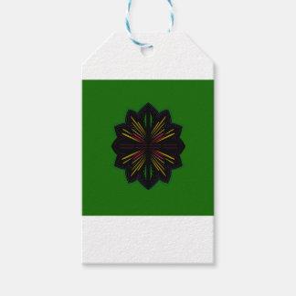 Étiquettes-cadeau Ethno de vert de mandala de conception