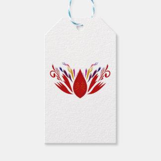 Étiquettes-cadeau Ethno ROUGE de mandala sur le blanc