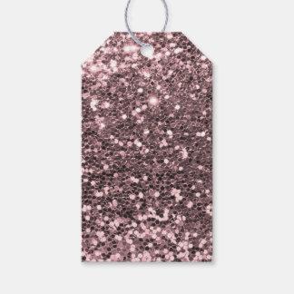 Étiquettes-cadeau Étincelles roses de parties scintillantes de Faux