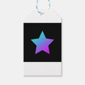 Étiquettes-cadeau Étoile de bleu/rose sur le noir