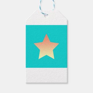 Étiquettes-cadeau Étoile orange lumineuse sur le bleu