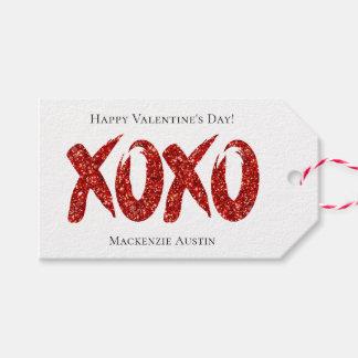 Étiquettes-cadeau Étreinte et baisers fascinants rouges de traçage