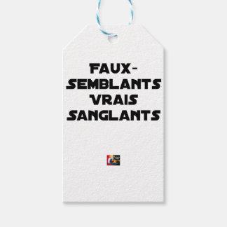 Étiquettes-cadeau FAUX-SEMBLANTS, VRAIS SANGLANTS - Jeux de mots