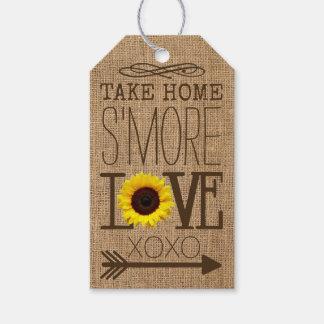 Étiquettes-cadeau Faveur à emporter d'amour de S'More de tournesol