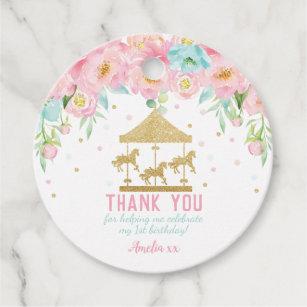 Étiquettes Cadeau Faveur florale en bon état rose de Merci