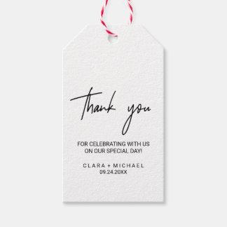 Étiquettes-cadeau Faveur lunatique de Merci de calligraphie