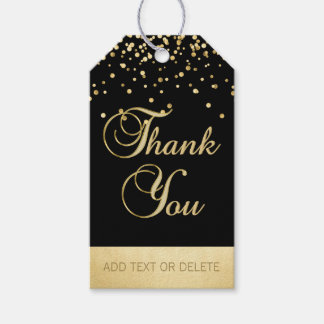 Étiquettes-cadeau Faveur noire personnalisée de MERCI de confettis