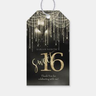 Étiquettes-cadeau Ficelez le noir du bonbon 16 à lumières et à