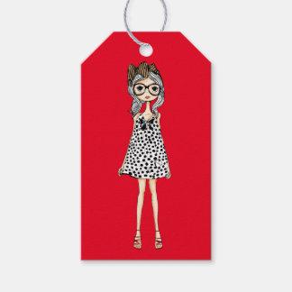 Étiquettes-cadeau Fille maladroite mignonne dans sa robe de point de