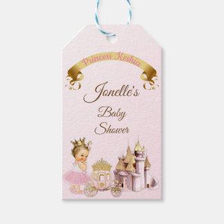 Étiquettes-cadeau Fille royale de princesse Castle Carriage Pink