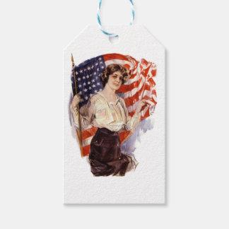 Étiquettes-cadeau fille vintage de drapeau américain