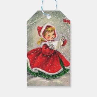 Étiquettes-cadeau fille vintage de Noël des années 1950 dans la robe