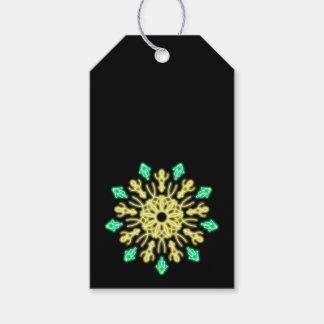 Étiquettes-cadeau Fleur au néon jaune et verte