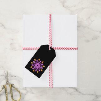 Étiquettes-cadeau Fleur au néon rose et orange