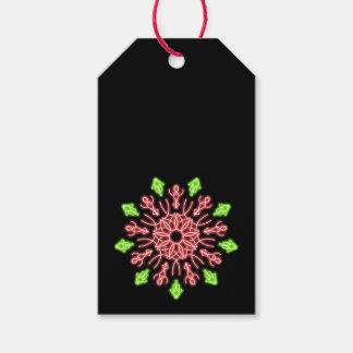 Étiquettes-cadeau Fleur au néon rouge et verte