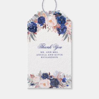 Étiquettes-cadeau Fleurs d'aquarelle de marine
