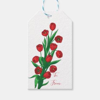 Étiquettes-cadeau Fleurs florales de ressort de mariage de tulipes